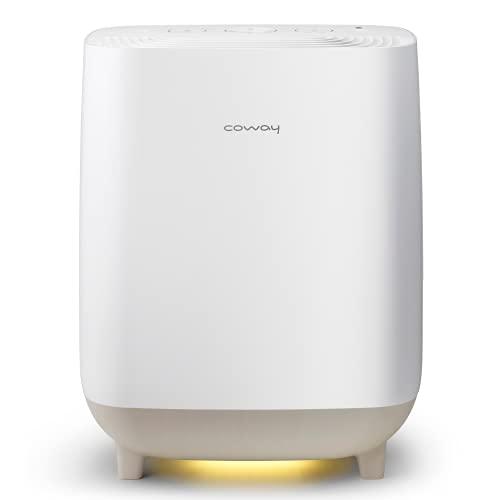 COWAY HUE&HEALING 2-in-1 Luftreiniger und Luftbefeuchter mit smartem Schlafmodus – Entfernt 99,5 Prozent der Partikel bis zu 0,3 µm, Pollen, Bakterien, Schimmel, Viren und Aerosole – Weiß