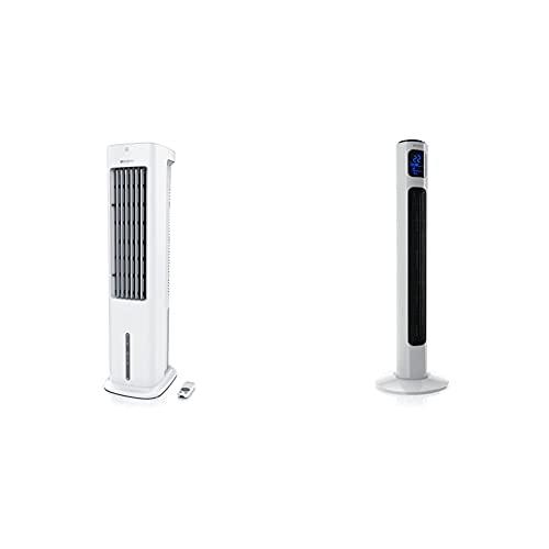 Brandson - mobiler Luftkühler 55 W mit 5L Wassertank – Klimagerät Befeuchter Ventilator Standventilator - 3 Geschwindigkeiten - weiß & Fernbedienung Turmventilator 96cm Polarweiß, 45 W, 3 Stück