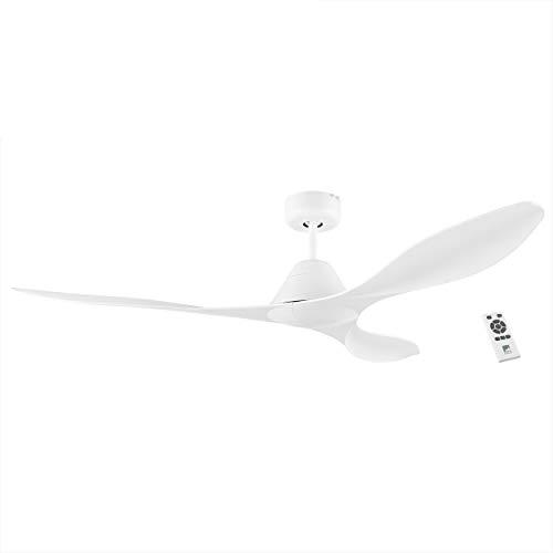 EGLO Deckenventilator Antibes, 3 Flügel Ventilator mit Fernbedienung, Timer und Sommer Winter Betrieb, hochwertiger ABS Kunststoff in Weiß matt, DC Motor, leise, Ø 132cm