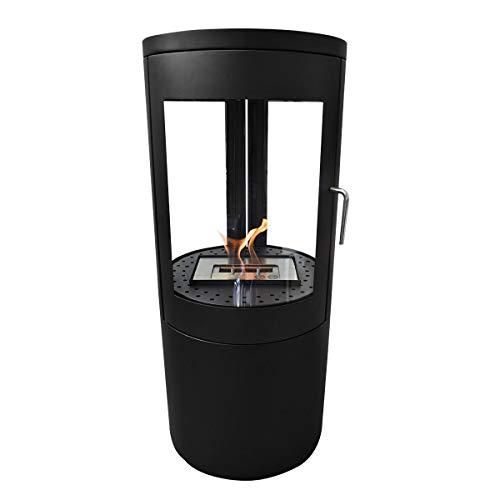 GLOW FIRE Nordkapp Ethanolofen, Runder Bioethanol-Ofen freistehend, 4h Brenndauer, Schwarz