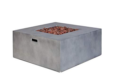 intergrill Gasfeuerstelle TM17001 Designer Fire Pit Feuertisch für Garten mit Lavasteinen Steinoptik Quadratisch