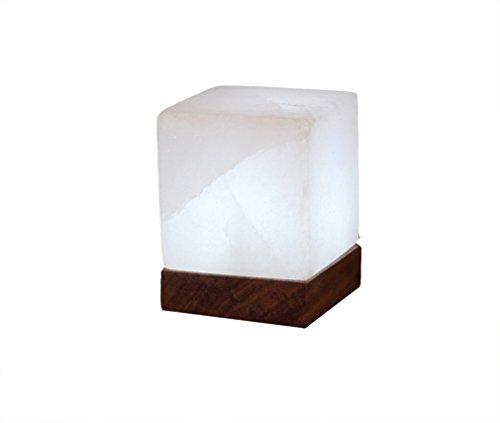 HIMALAYA SALT DREAMS - Beleuchteter Salzkristall KUBUS White Line, mit Holzsockel, inklusive Elektrik und Spezial-Leuchtmittel (E14) aus Punjab / Pakistan