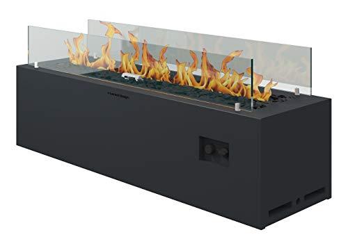 muenkel design Spirit – Gas-Feuerstelle Außenbereich - schwarz – Outdoor Gaskamin – manuelle Steuerung -Anschluss Gasflasche