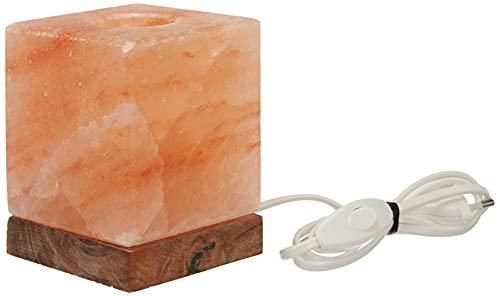 HIMALAYA SALT DREAMS - Salzkristall Aromalampe KUBUS mit Holzsockel aus Punjab / Pakistan
