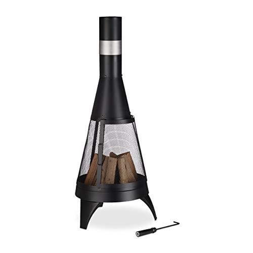 Relaxdays Terrassenofen, offene Feuerkammer, dekorative Feuerstelle, Schürhaken, Gartenofen, Ø 45 cm, Stahl, schwarz