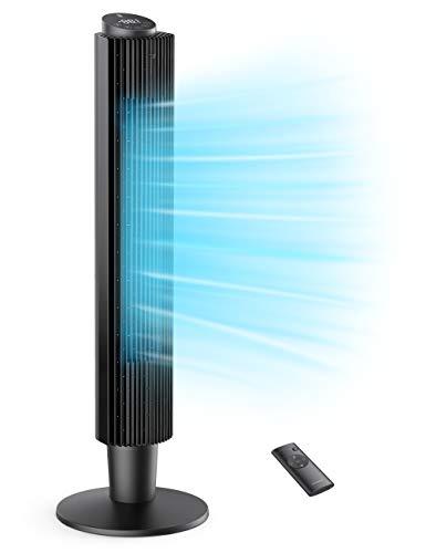 TaoTronics Turmventilator 35dB Leise Ventilator 90° Oszillation 106CM Standventilator 40W Säulenventilator mit Fernsteuerung 12 Std. Timer 5 Geschwindigkeiten 3 Windmodus Raumventilator Home Büro