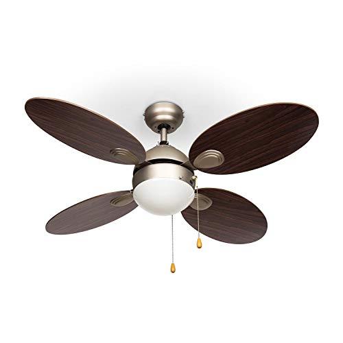 """Klarstein Valderama - Deckenventilator, 2-in-1: Ventilator & Deckenlampe, Durchmesser: 42"""" (107 cm), 4 Flügel, Luftdurchsatz: 7.480 m³/h, 2 Laufrichtungen, 3 Geschwindigkeitsstufen, dunkelbraun"""