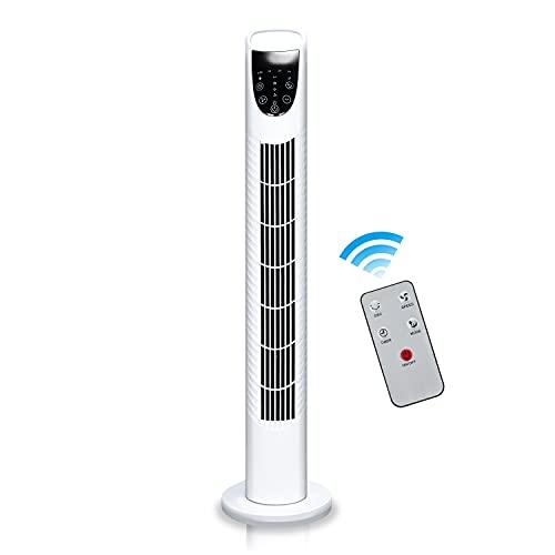 Faziango Turmventilator mit 75° Oszillation, Ventilator mit Fernbedienung 40W 78CM, 7.5H Timerfunktion Standventilator, 3 Geschwindigkeitsstufen Tower Fan Weiß