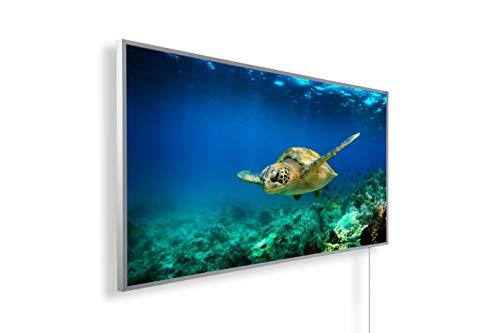 Könighaus Infrarotheizung – Bildmotiv – 1200 Watt + Smart Thermostat + Könighaus APP - Weißer Rahmen (13. Schildkröte unterwasser)