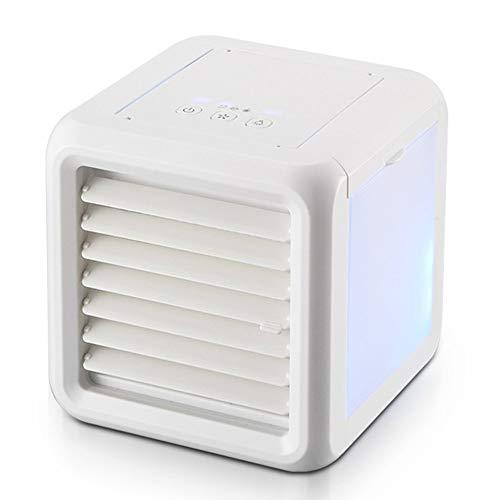 HHuin 3 in 1 Mini Luftkühler Luftkühler Mobile Klimaanlage Leiser Schreibtisch Ventilator Abnehmbarer Wassertank 8 LED Licht