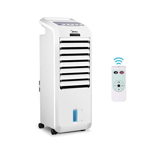 Midea AC100-16BR Mobiles Klimagerät 3-in-1 Luftbefeuchter, Mobile Klimaanlage mit 5L Wassertank, Fernbedienung, 3 Geschwindigkeiten, 7 Stunden Timer, 55W Oszillierend Luftkühler Aircooler