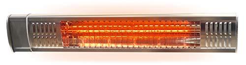 Gardigo Infrarot Heizstrahler mit Goldröhre für den Außenbereich I Kurzwellen Heizstrahler für Garten, Garage, Terrasse und Werkstatt I 2000 Watt I inkl. Wandhalterung I Edelstahl - Aluminiumblende