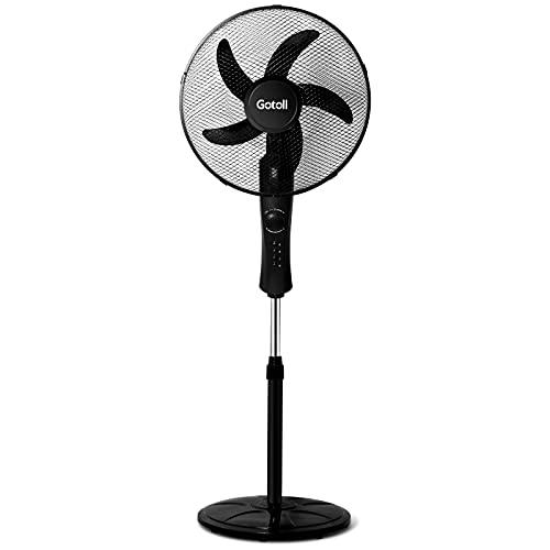 Gotoll Standventilator mit Oszillation 70°, Standlüfter mit 3 Geschwindigkeiten, 60 Minuten-Timer Bodenventilator, 45 W, Schwarz