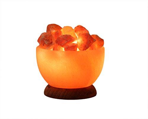 HIMALAYA SALT DREAMS - Beleuchtete Salzkristallschale RUND, inklusive Elektrik und Spezial-Leuchtmittel (E14) aus Punjab / Pakistan