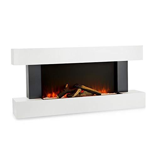 Klarstein Studio Light & Fire - Elektrokamin mit LED-Flammenillusion, Elektro Kamin mit Timer-Funktion und Thermostat, 1000/2000W, MDF-Gehäuse, inkl. Fernbedienung, Ambient Down Light, Fire 1, weiß