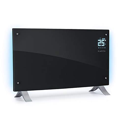 Klarstein Bornholm Curved Ambient Elektro-Heizung E-Heizung Konvektionsheizgerät Heizgerät (1000 oder 2000 Watt, 5-45°C, LED-Touch Display, ECO-Modus, 24 h Timer, Fernbedienung) schwarz