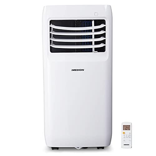 MEDION mobile Klimaanlage mit Abluftschlauch (leise, 3in1, Klimagerät, Kühlen Entfeuchten und Ventilieren, Staubfilter, geeignet für bis zu 32qm, 9000BTU, Timer Funktion, MD37000)
