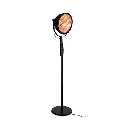 blumfeldt Heatspot Terrassenheizstrahler - Infrarot-Heizstrahler, Outdoor-Heizstrahler, 900, 1500 oder 2000 Watt, IR ComfortHeat, Carbon-Heizelemente, Kippschutz, IP54, Außengebrauch, schwarz