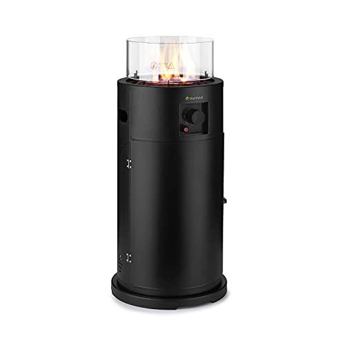 blumfeldt Lavastone Terrassenheizer Freiluftheizung, 30.000 BTU / 8,8 kW, 360° FireView: Brennerzylinder aus Temperglas, elektronische Zündung, Edelstahlbrenner, pulverbeschichteter Stahl, schwarz