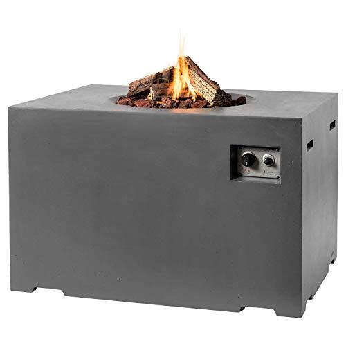 M A N I A Feuertisch für den Garten - Gas Feuerstelle ohne Rauch, Funken, Glut & Asche - Gaskamin Outdoor mit 19,5 kW als Stehtisch in Betonoptik grau 107 x 80 x 67 cm - Gasfeuerstelle Terrassenkamin