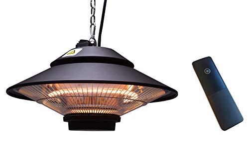 ICQN Deckenheizstrahler Terrassenstrahler | 1500 Watt Wärmestrahler mit Fernbedienung | Spritzwassergeschützt | Balkon- und Terrasse -Strahler für Outdoor & Indoor |IP34 | Heizpilz, schwarz, GS-1500