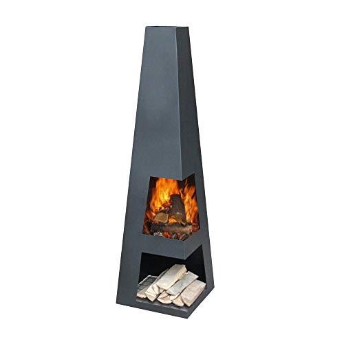 Ben&Camilla Gartenkamin Sanga in Schwarzem Stahl 122 x 37 x 37 cm | extra robust | Feuerschale Feuerkorb Terrassenofen Gartenofen Feuerstelle Feuersäule Feuerskulptur