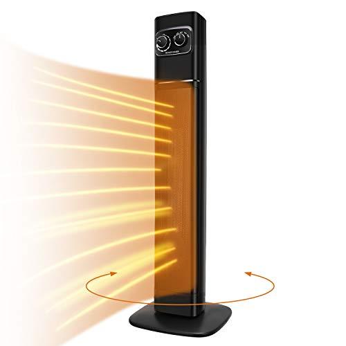 Stand Heizlüfter Keramik Heizgerät 2200w / 1300w Automatischer Oszillation Heizstrahler, Turmraumheizung, 2 Modi 2 Stufen Warm, Thermostat, Überhitzungs und Umkippschutz Standheizstrahler Standgerät