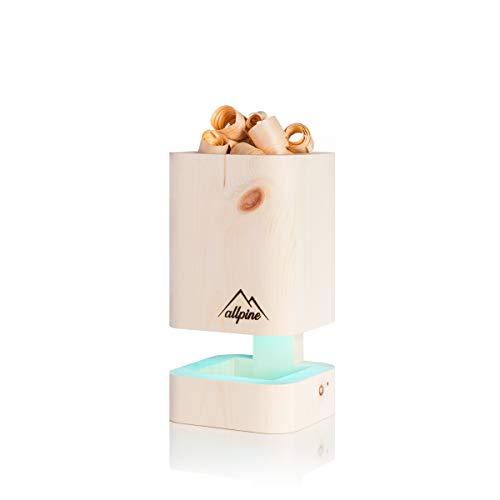 Allpine PuriLamp S - Die Originale Zirbenholz Luftreiniger (Ohne Ventilator) mit Beleuchtung, Zirben Lampe, Zirbenholz Lampe