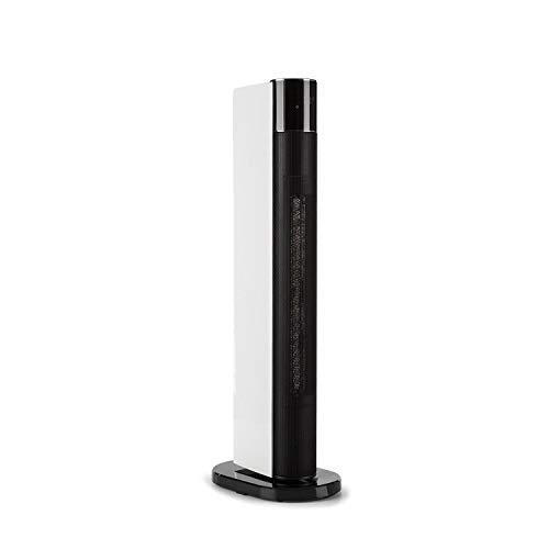 Klarstein Hightower Heat Deluxe Keramik-Säulenheizlüfter - Heizgerät mit Thermostat, Standventilator, 2-in-1, 2200 W, Heizgebläse, 5 bis 35 °C, Abschalttimer, inkl. Fernbedienung, schwarz-weiß