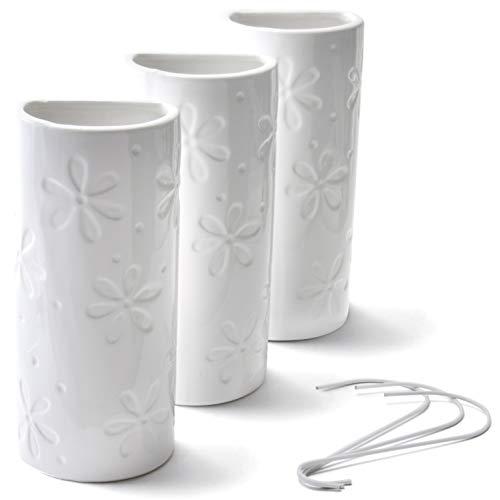Ligano® Heizkörper Luftbefeuchter mit Blumenmotiv – Keramik Wasserverdunster für die Heizung – 3 Stück