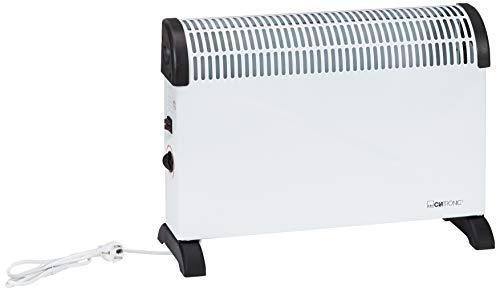 Clatronic KH 3077 elektrische Heizung, Konvektor Heizung, mobile Wärme, 3 Heizstufen (750/1250/2000 Watt), stufenlos regelbarer Thermostat, komfortable Tragemulden, geräuscharm