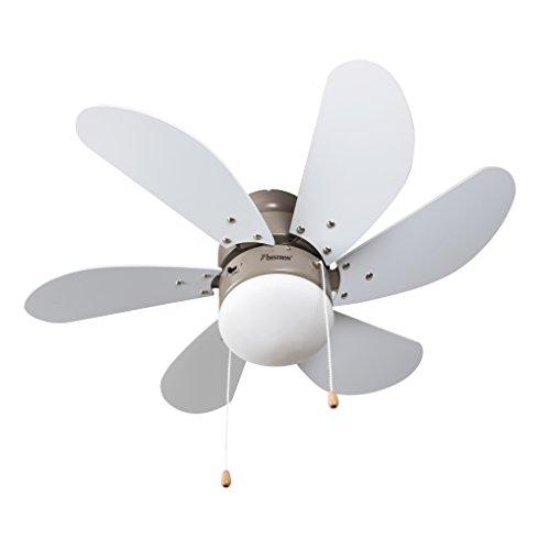 Bestron Deckenventilator mit Beleuchtung, 3 Geschwindkigkeitsstufen & große Flügelspannweite von Ø75 cm, inkl. Sommer-/Winterfunktion, 50 W, Farbe: Ahorn/Weiß