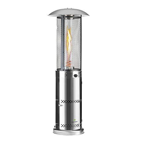 blumfeldt Goldflame Deluxe Terrassenheizstrahler Freiluftheizung Gas-Heizpilz,Heizleistung: 36.000 BTU / 11 kW,360° FireView: Brennerzylinder aus Temperglas,mobil,Silber