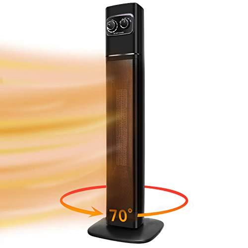 Elanket Heizlüfter, 2200w/1300w Heizstrahler Terrasse Elektrisch, 70°Oszillation PTC Keramik Heizlüfter mit 2 Stufen Warm, Leise Heizung Energiesparend für Bad Heimat Büro, Überhitzungs & Umkippschutz