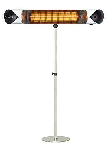 ICQN Infrarot Heizstrahler | 2500 Watt | Höhenverstellbar | Wand-und-Decken-Heizstrahler | Terrassenstrahler | 4 Heizstufen mit Fernbedienung | bis zu 24m² | Wärmestrahler | IP65 Strahlwassergeschützt