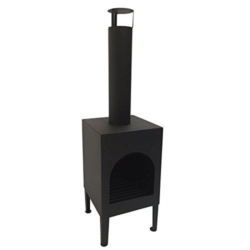 Mullrose 100912 Terrassenofen Gartenkamin Toronto XL, eckig, aus Stahl, schwarz, L35 x B35 x H125 cm