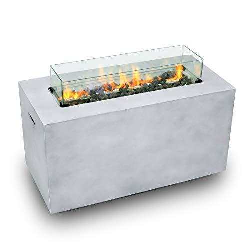 Peak Nature Gas-Feuerstelle für den Außenbereich, edler Feuertisch für Garten & Terrasse, elektronisch entzündbar, inkl. Lavasteine, Windschutz aus Spezialglas, Regenschutzhaube