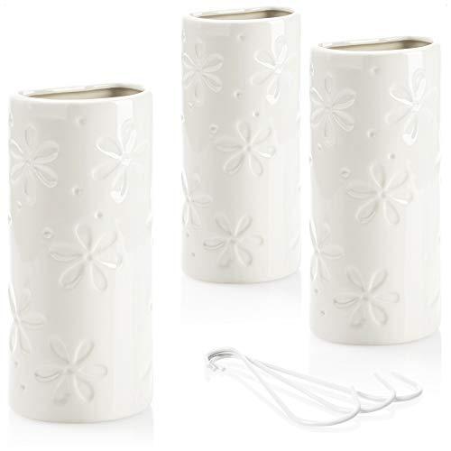 com-four® 3X Luftbefeuchter Heizung - Heizkörper Luftbefeuchter halbrund - Heizung Wasserverdunster aus Keramik - 500 ml (weiß - Blume)