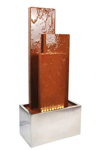 Köhko® Springbrunnen Chile Höhe 104 cm mit LED-Beleuchtung und 3 Wasserwänden aus Cortenstahl und Edelstahl Gartenbrunnen Zimmerbrunnen 32002