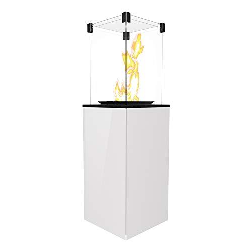 KRATKI Gaskamin Patio Mini 4-8,2kW 1366x427mm Weiß Gartenkamin mit manueller Steuerung Flüssiges Gas Gasfeuerstelle für Terrassen, Garten Outdoorkamin ideal als Wärmelampe & Außenkamin