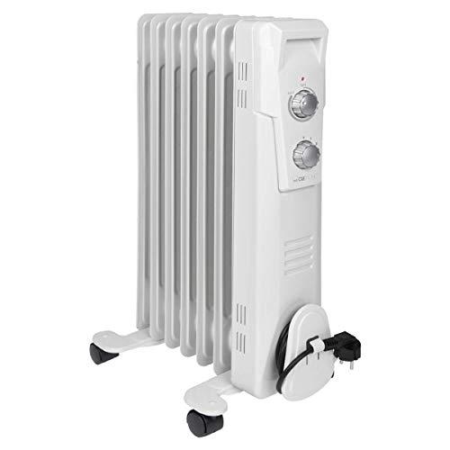 Clatronic RA 3735 7 Rippen-Ölradiator, mobiler Heizkörper bis 1500 Watt, Wärmeregulierung über stufenlosen Thermostatregler, Flexibler Einsatz durch 4 Leichtlaufrollen, Slimline-Bauweise, weiß