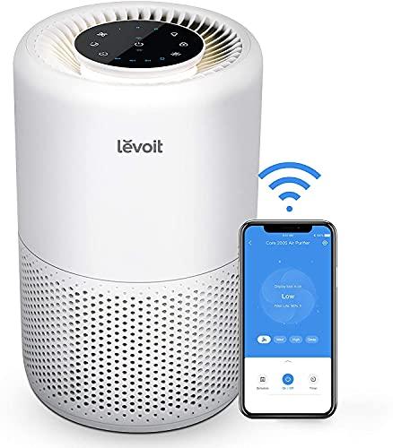 LEVOIT Smart Luftreiniger mit Wlan und Alexa, 3-in-1 HEPA H13 Filter gegen 99,97% Staub Pollen Rauch für Allergiker, CADR 170m³/h für 35m² Wohnung Schlafzimmer, Nachtlicht Timer Schlafmodus 24dB leise