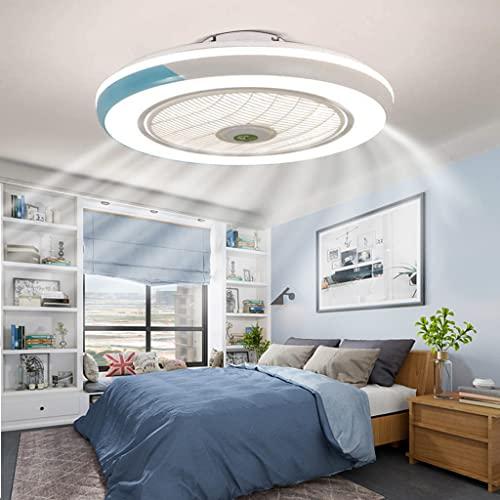 LED Deckenventilator Mit Fan Deckenleuchte Ultra-Leise Moderne Invisible Lampe Deckenventilator Mit Beleuchtung Esszimmer Schlafzimmer Wohnzimmer 40W LED Dimmbar Deckenlampe Mit Fernbedienung,Blau