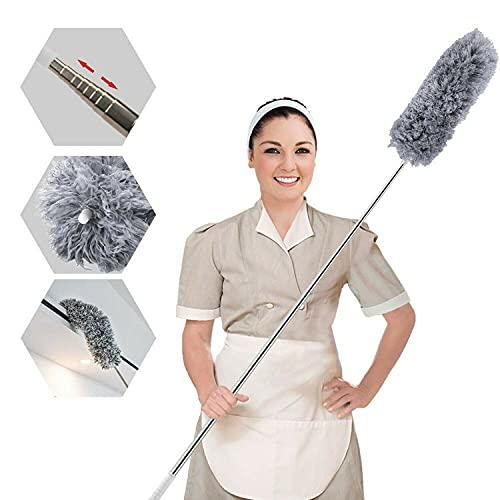 Mikrofaser-Staubwedel zur Reinigung mit Verlängerungsstange (Edelstahl), biegbar, waschbar, fusselfrei, Staubwedel für die Reinigung von Deckenventilatoren, Möbeln, Spinnweben, Auto, Computer