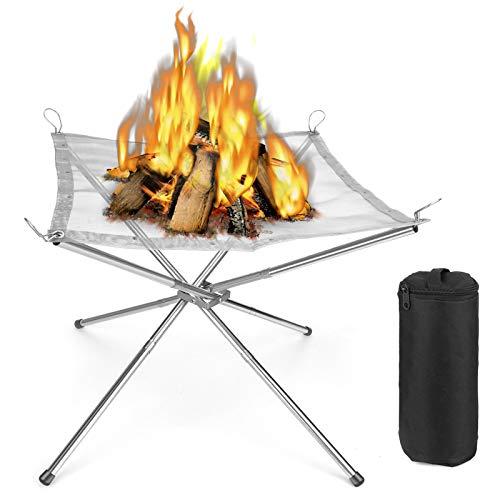 Feuerstelle Faltbare Feuerschale Feuerkörbe Camping Leicht Handlich Rostfreier Stahl Mesh Kamin für Draußen, Patio, Camping, Grill, Garten, Hinterh(43 x 43 x 35)