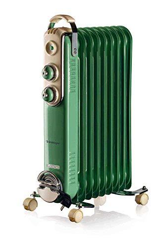 Ariete 838 Ölradiator Vintage, 9 Heizelemente, 3 Leistungsstufen, Tragegriff für einfachen Transport, max. 2000 Watt, grün