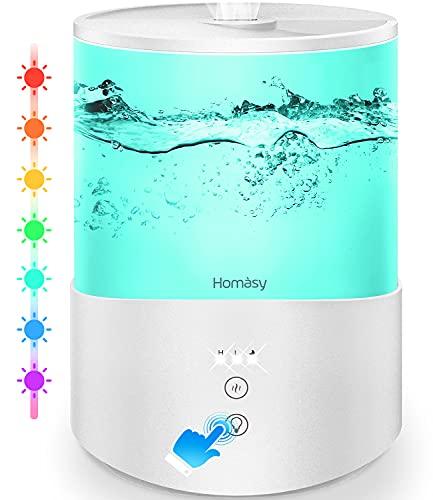 Homasy Ultraschall Luftbefeuchter,2.5L Top-Füllung Humidifier mit 7 Farben LED,Leise Aroma-Diffusor für Kinderzimmer,Luftbefeuchter Baby Schlafzimmer,BPA-Frei,Schlafmodus,Auto-Abschaltung-Weiß