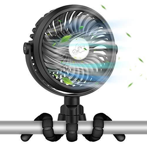 VASG Mini USB Ventilator, Tischventilator Handventilator mit LED Lichts 360° Drehung 3 Geschwindigkeiten Starker Luftstrom 2500mAh für Bibliothek Camping Kinderwagen Büro Zelt (Schwarz)