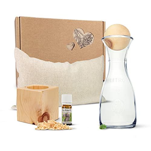 Zirben Erlebnis-Geschenksbox Nr.3: Bio-Zirbenkissen (17x29cm), Zirbenwürfel-Set, Zirbenkugel-Set
