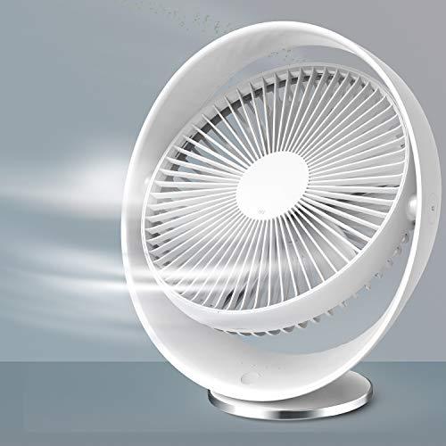 RATEL leiser USB Ventilator Weiß, 8 Zoll 2000mAh wiederaufladbarer Kleiner Tischventilator, 60° Drehwinkel 3 Geschwindigkeitsstufen, für das Büro/Freien/Schlafzimmer, USB Kabel enthalten